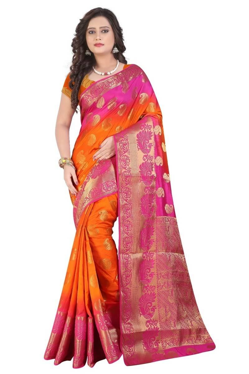 Art Silk Banarasi Saree With Blouse