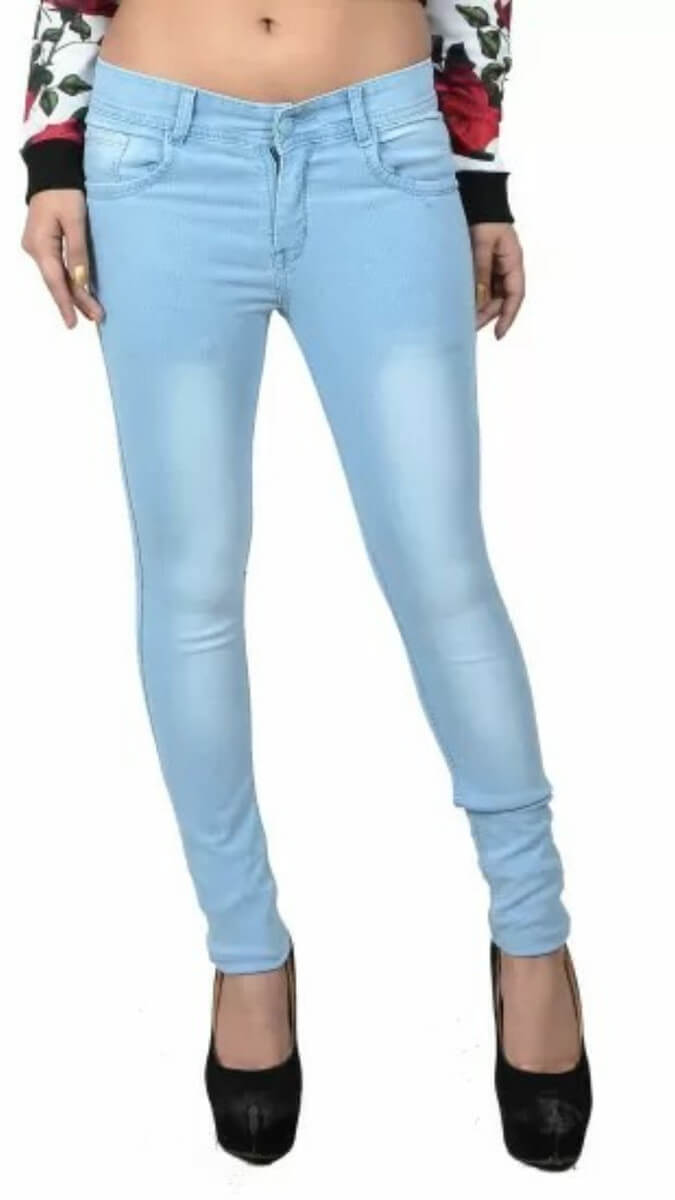 Plain Slim Fit Women Jeans