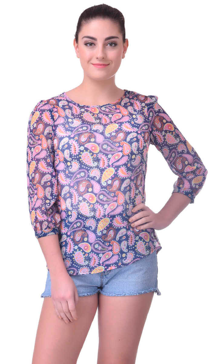 Polyester Paisely Print Top