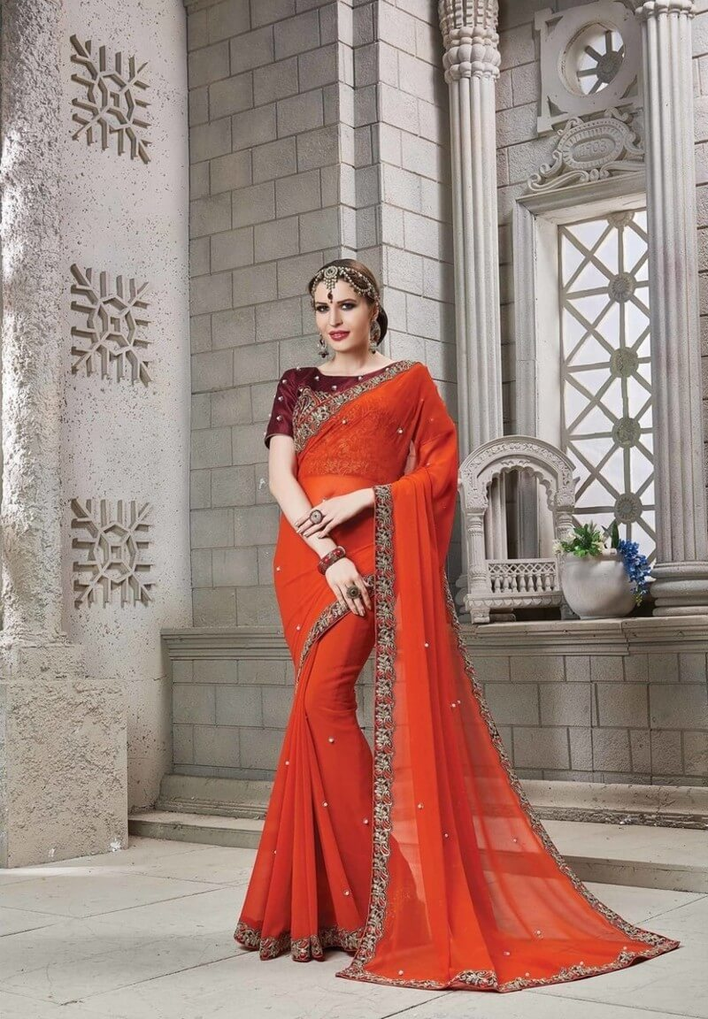Georgette Moti Saree With Blouse