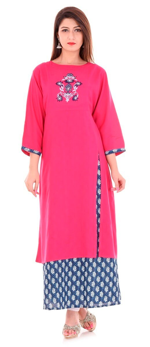 Rayon Hand Embroidery Front Slit Double Layer Kurti
