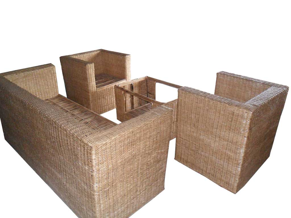 Cane Sofa Set(#139)-gallery-0