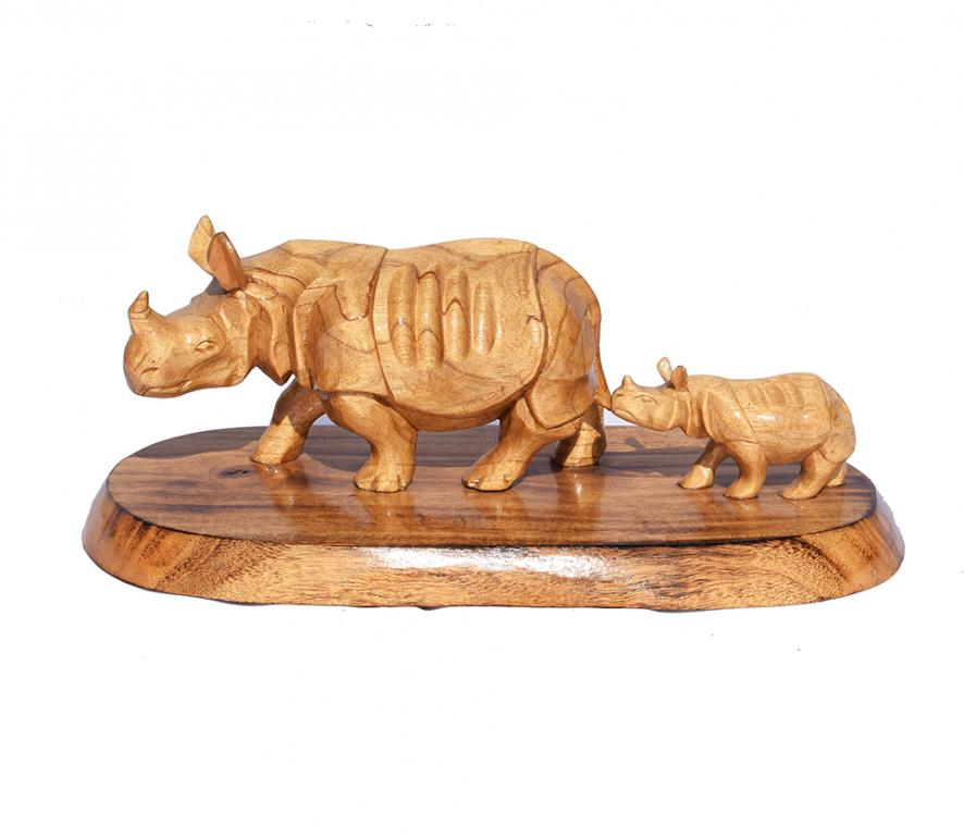 Wooden Rhino with Baby(#252)-gallery-0