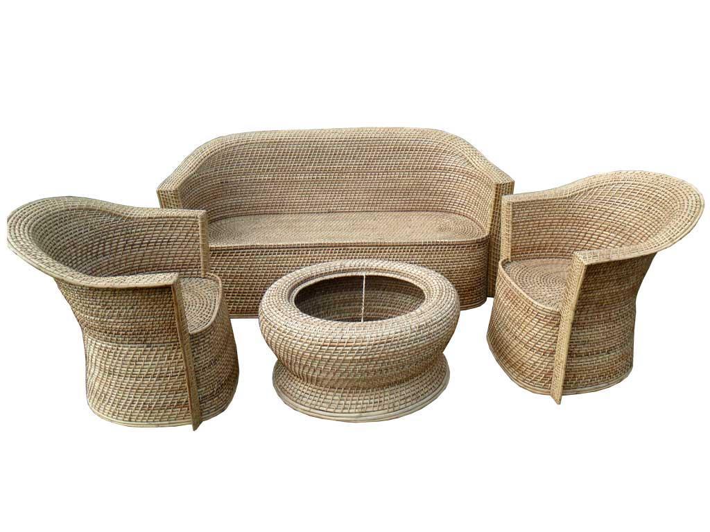 Cane Sofa Set(#137)-gallery-1