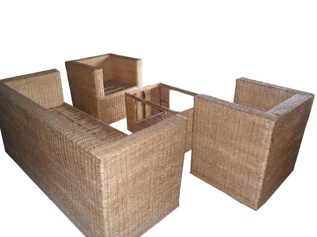 Cane Sofa Set(#139)-gallery-0
