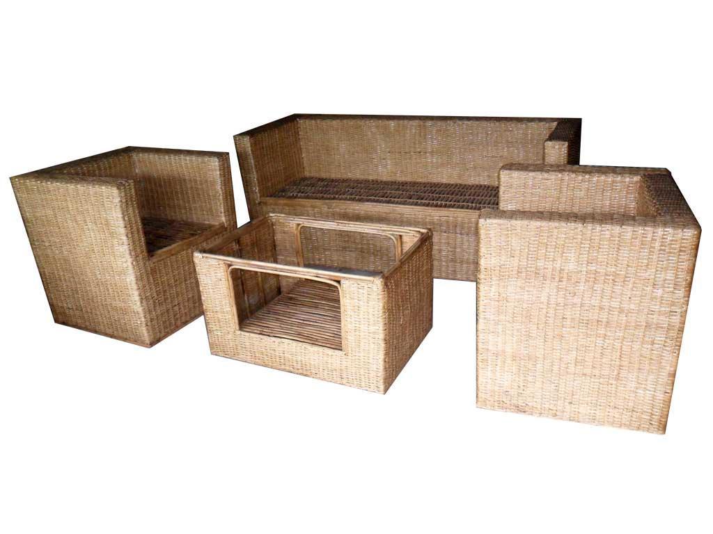 Cane Sofa Set(#139)-gallery-2