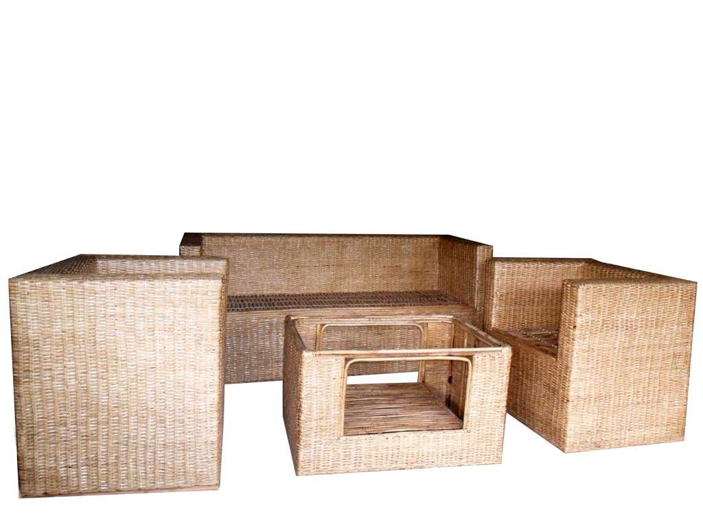 Cane Sofa Set(#139)-gallery-3