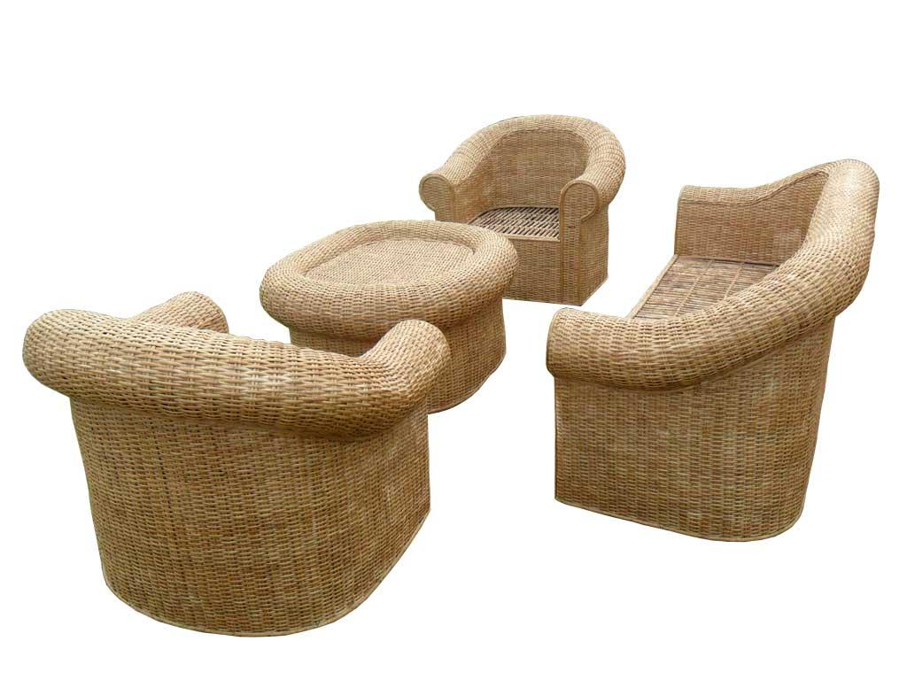 Cane Sofa Set(#140)-gallery-1