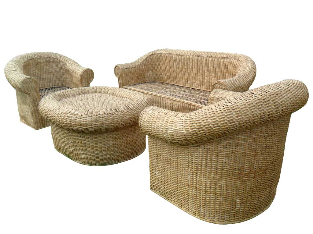 Cane Sofa Set(#140)-gallery-0