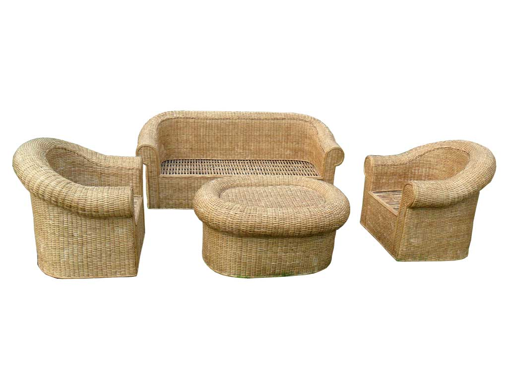 Cane Sofa Set(#140)-gallery-2