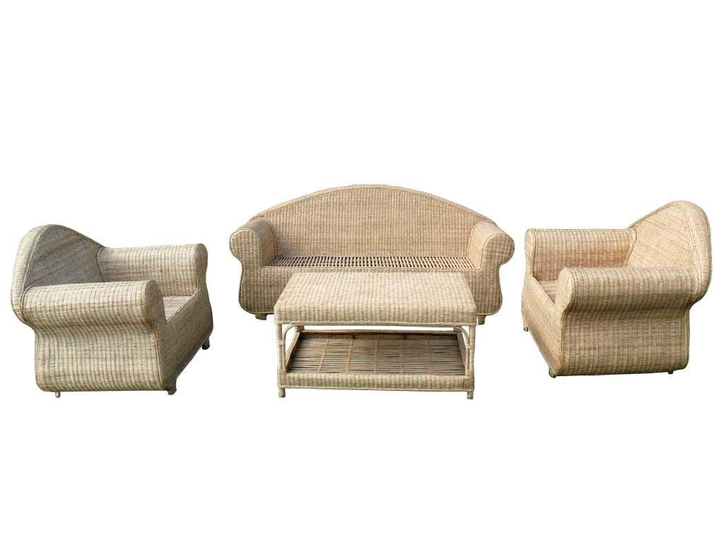 Cane Sofa Set(#141)-gallery-2