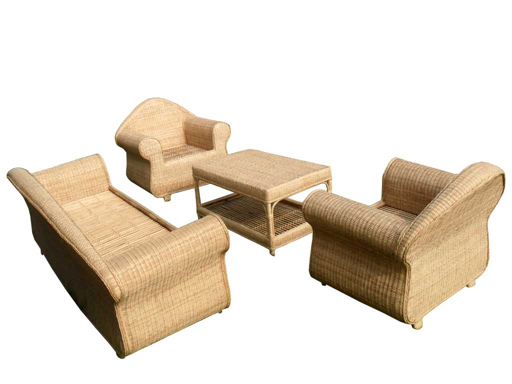Cane Sofa Set(#141)-gallery-0