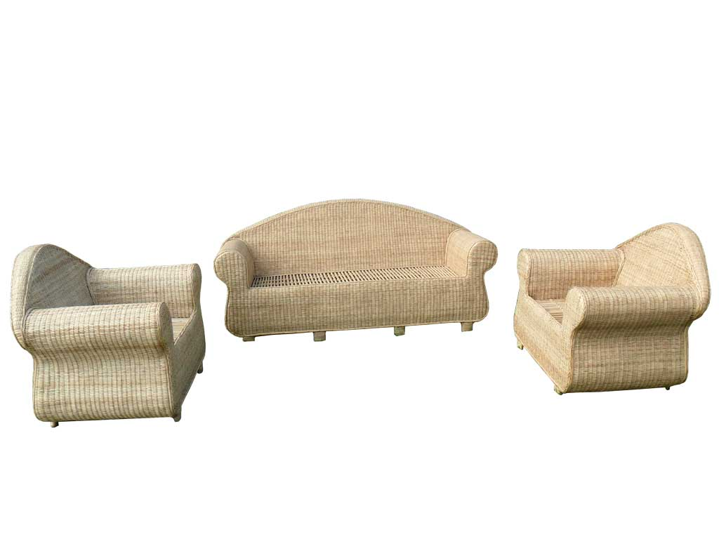 Cane Sofa Set(#141)-gallery-3