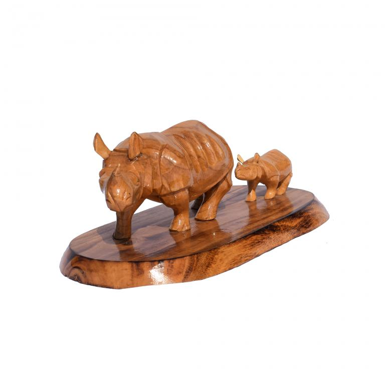 Wooden Rhino with Baby(#252)-gallery-1