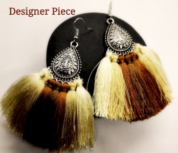 Antique metal - silk thread earrings
