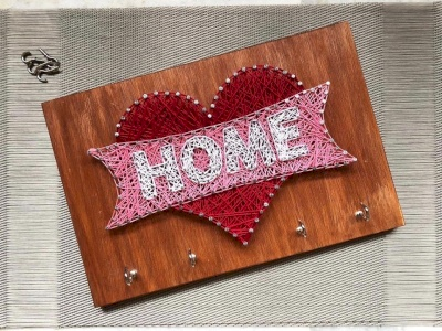 Home Keychain String Art