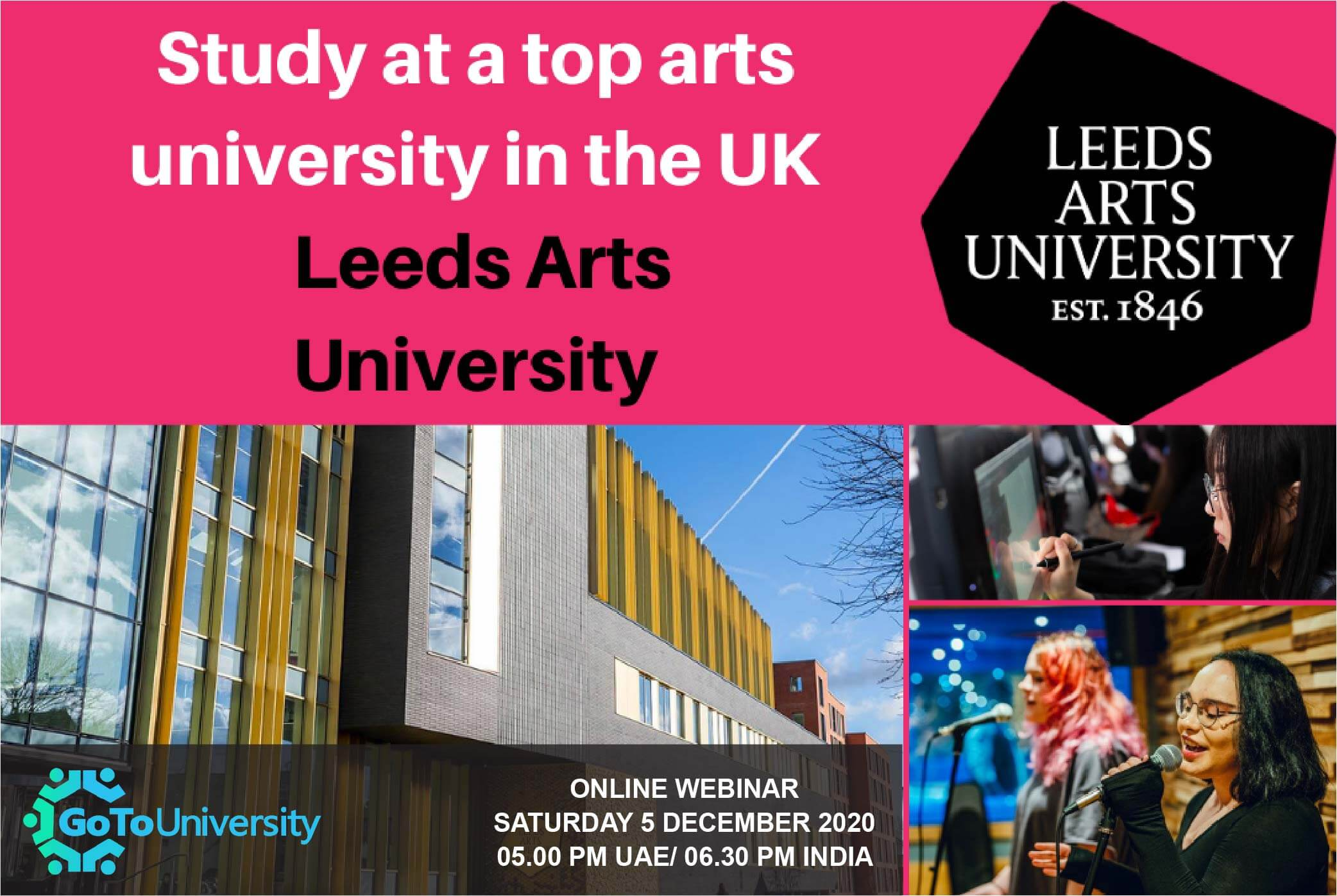 Study at a top arts university in the UK with Leeds Arts University