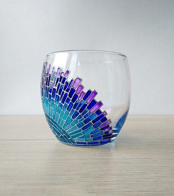 Stemless Blue Wine Glass Custom Hand Painted Glasses Painting Ideas Happyshappy