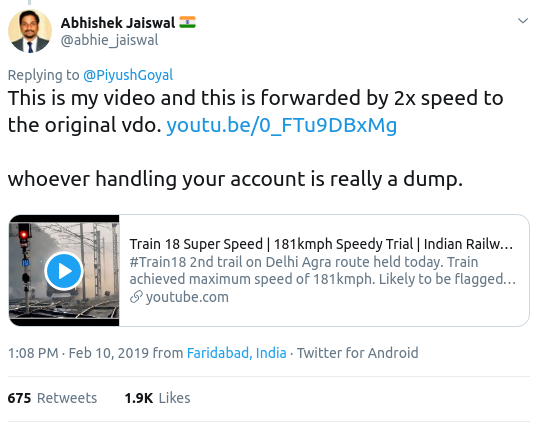 Did Railway Minister Piyush Goyal share the doctored video of the