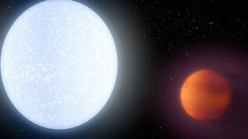 KELT-9b is 2.8 times more massive than Jupiter, but only half as dense and have temperatures above 4300 degree Celsius