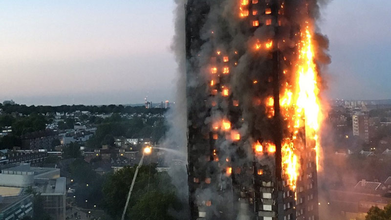 Fire engulfs high rise in London