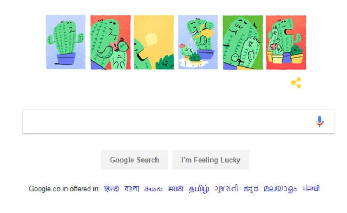 Google is celebrating the father's day with a cactus doodle