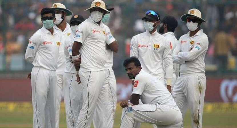 Sri Lankan team wearing mask on Day 4 of the Kotla Test