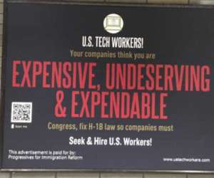 Anti H-1B posters glued all across San Francisco metro stations
