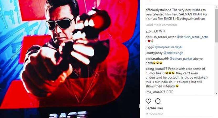 Stallone confuses Bobby Deol for Salman Khan in shout out for Race3