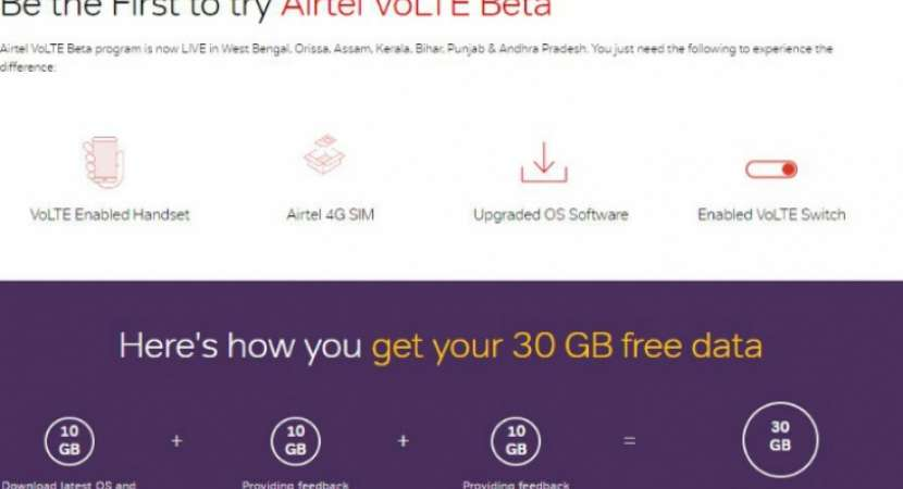 Now, get free 30GB data through Airtel VoLTE beta program