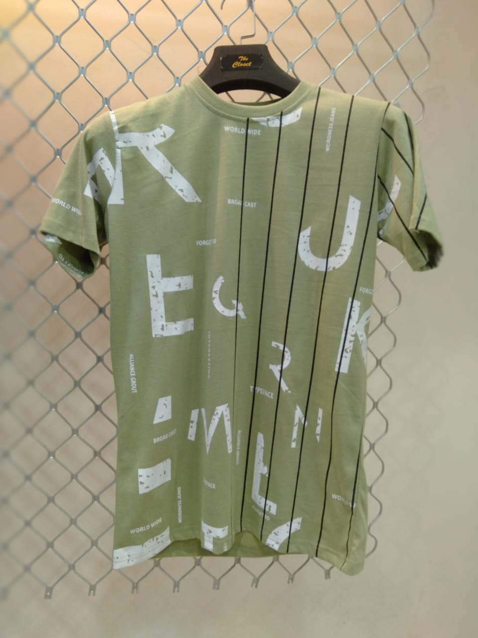 Mens Olive colore printed t-shirts