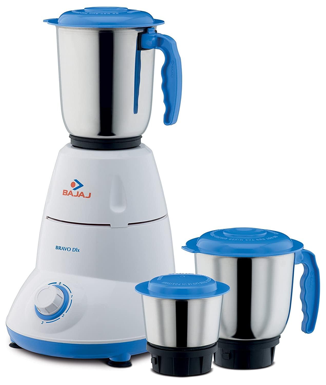 Bajaj Bravo Dlx 500W Mixer Grinder (Blue And White)