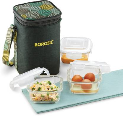 Borosil ICYCSOSS320 3 Containers Lunch Box  (900 ml)