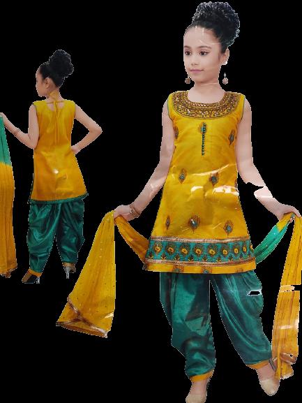 Girls Party Wear Kurti, Patiala and Dupatta Set (Mustard & Emerald)