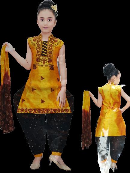 Girls Party Wear Kurti, Patiala and Dupatta Set (Mustard & Black)