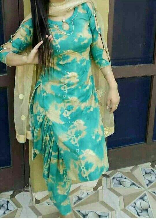Women Cotton Blend Printed Fancy Patiala Suit (Sea Green)