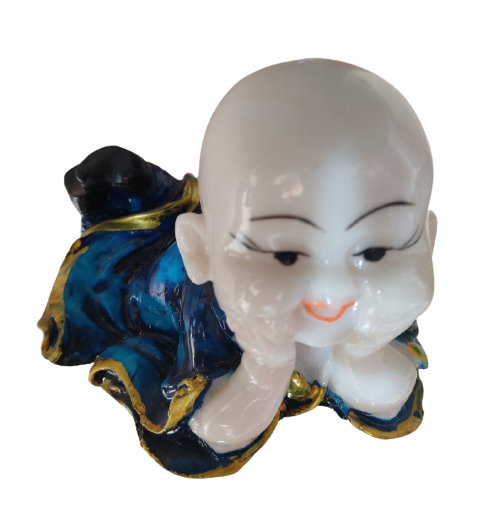 Little Lay Down Ceramic Monk Home Decor Showpiece (Blue)
