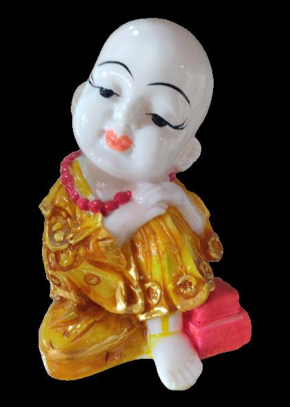 Cute Little Ceramic Monk Home Decor Showpiece (Mustard)