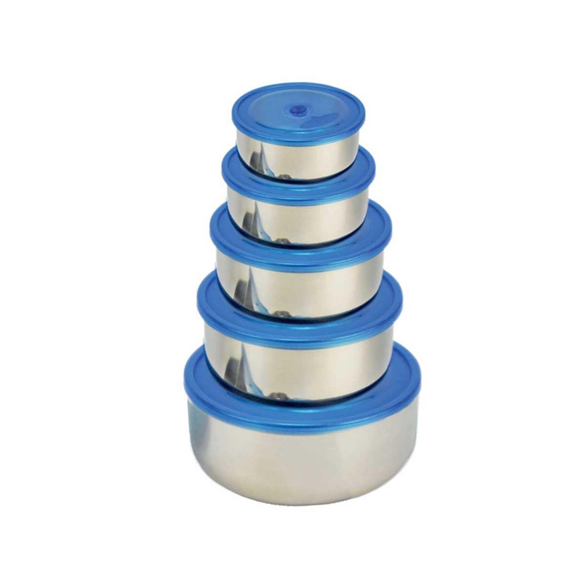 Signoraware 3714 Nesto Steel Containers (Set/5) (Blue,Silver)