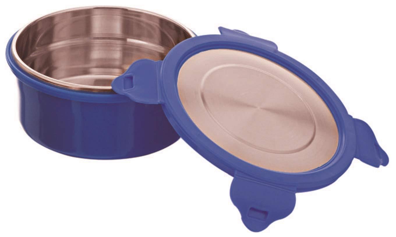 Signoraware 3787 Lock n Store Micro Steel Round with Steel Lid, 400ml, Set of 1, Violet