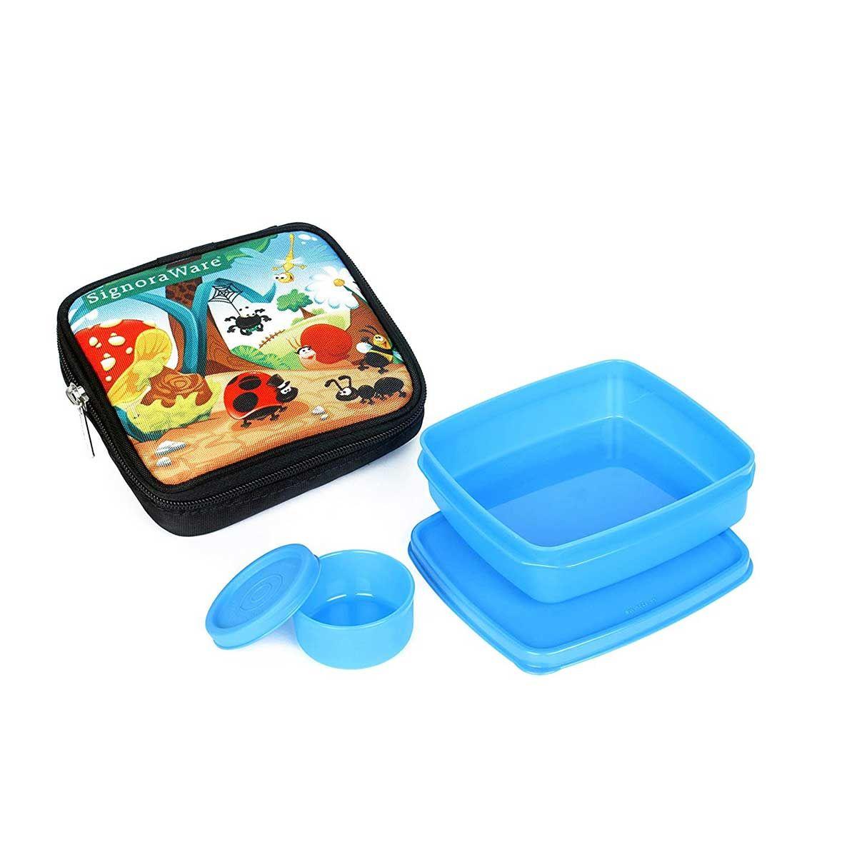 Signoraware P-25518 Jungle Fun-Nano Lunch Box (With Bag) (350ml+40ml) (Blue)