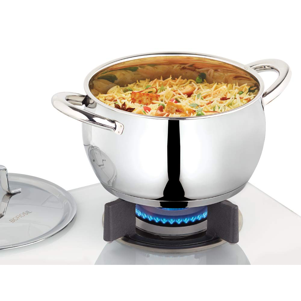 Borosil CFHC20SS13 Stainless Steel Handi with Casserole Lid, Impact Bonded Tri-Ply Bottom (4 Ltr)