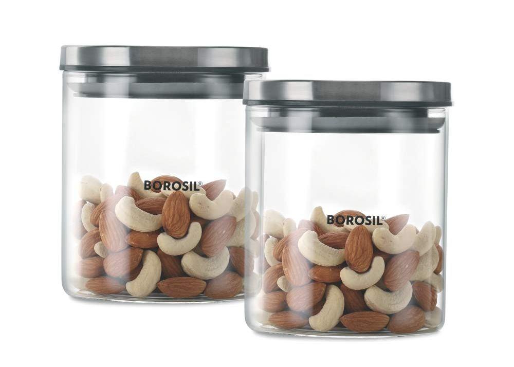 Borosil BGJNS962600 NEO STACK N STORE JAR Set Of 2 (600 ml)