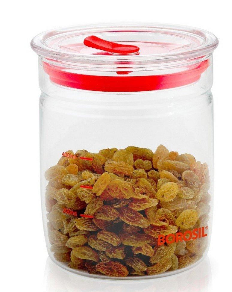 Borosil IWT11SC7004 Classic Trend Glass Jar with Lid for Kitchen Storage, (550 ml)