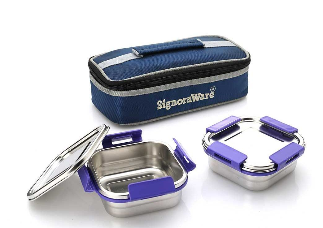 Signoraware Midday Squarex Steel Lunch Box (700 ml)