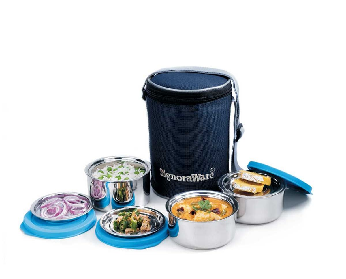 Signoraware Executive Twin Wall Med Steel Lunch Box (850 ml)