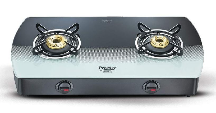Prestige GTS 02 Premia Glass 2 Burner Gas Stove (Black & White)
