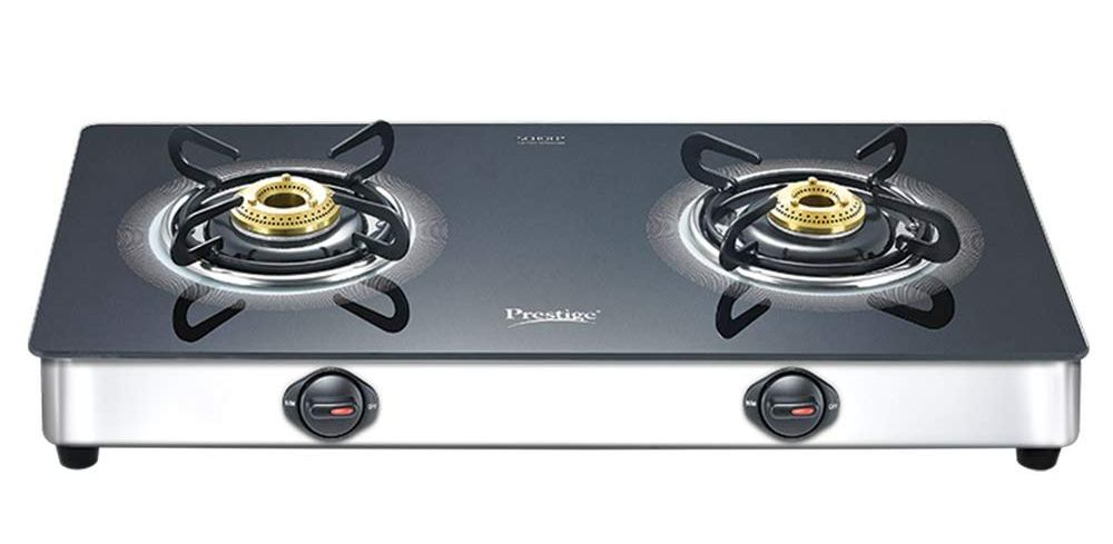 Prestige Royale Plus GT 02 SS Glass, Stainless Steel Manual Gas Stove (2 Burners)