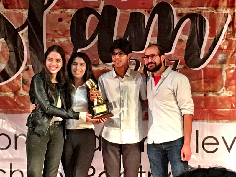 Anis Mojgani with one of the top three teams at BIS Slam 2017