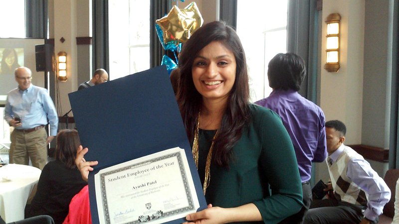 International student Ayushi Patel was the Student Employee of the Year nominee at Rochester University